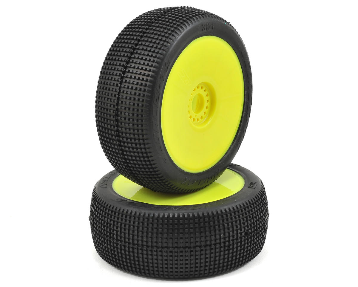 JConcepts Reflex Pre-Mounted 1/8th Buggy Tires (2) (Yellow) (Green)