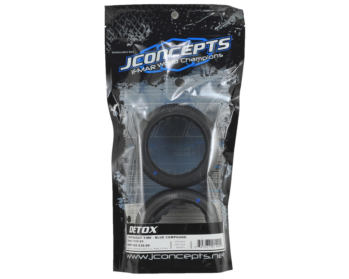 JConcepts Detox 1/8th Buggy Tires (2) (Blue)