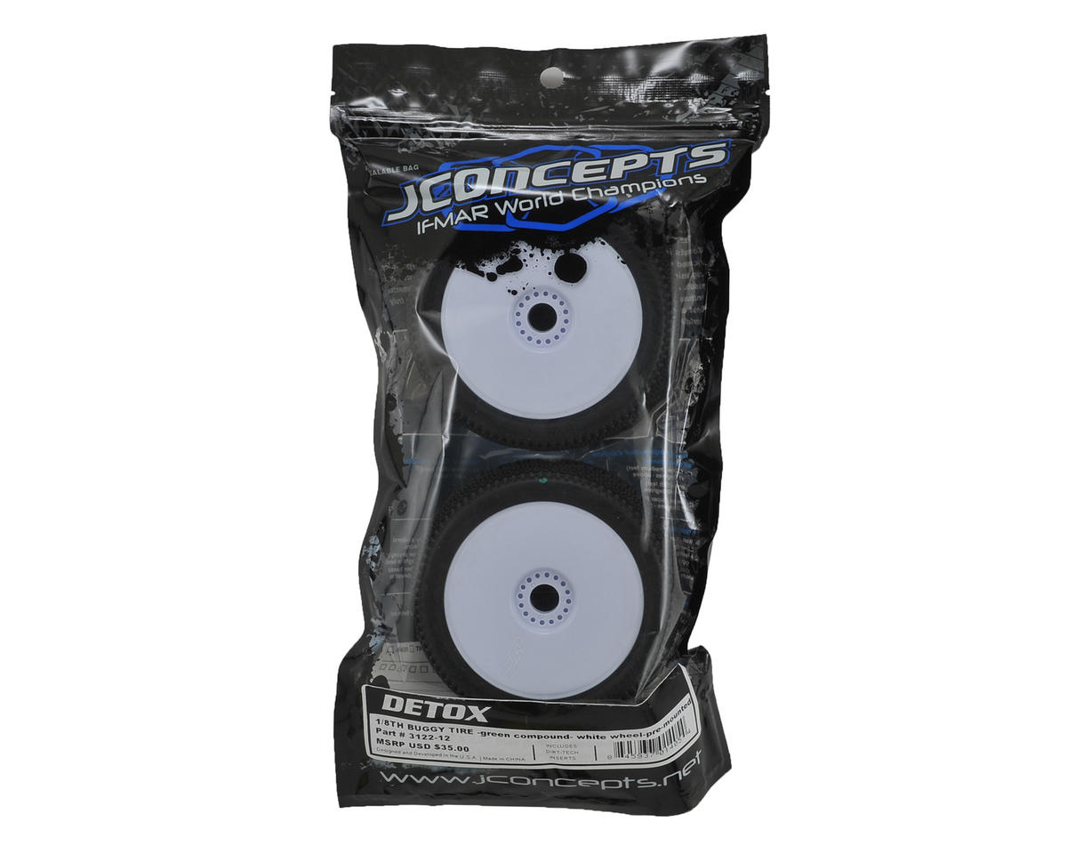 JConcepts Detox Pre-Mounted 1/8th Buggy Tires (2) (White) (Green)
