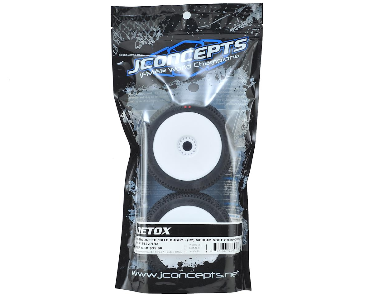 JConcepts Detox Pre-Mounted 1/8th Buggy Tires (2) (White) (Red2 - Long Wear)