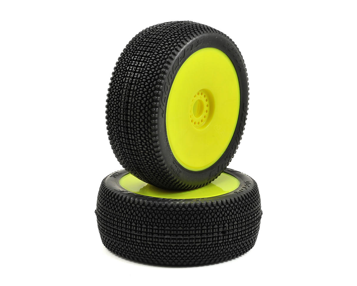 JConcepts Detox Pre-Mounted 1/8th Buggy Tires (2) (Yellow) (Green)