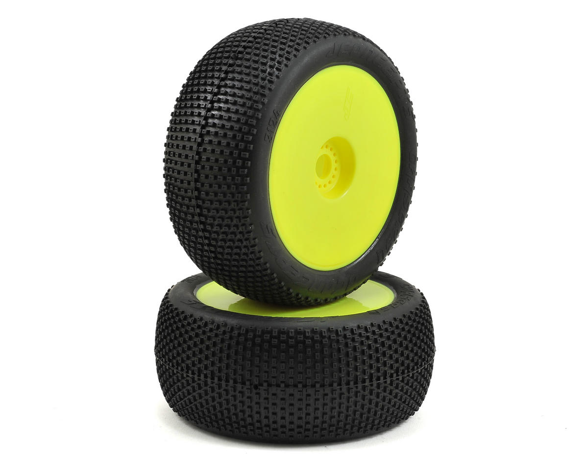 "Chasers 4.0"" Pre-Mounted 1/8th Truggy Tires (2) (Yellow) (Green) by JConcepts"