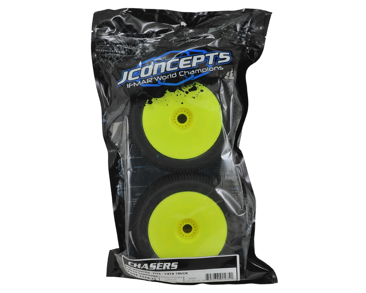 "JConcepts Chasers 4.0"" Pre-Mounted 1/8th Truggy Tires (2) (Yellow)"