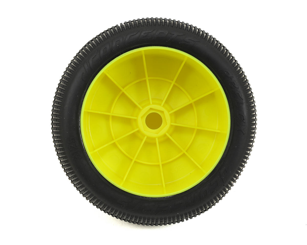 """JConcepts Reflex 4.0"""" Pre-Mounted 1/8th Truggy Tires (2) (Yellow)"""