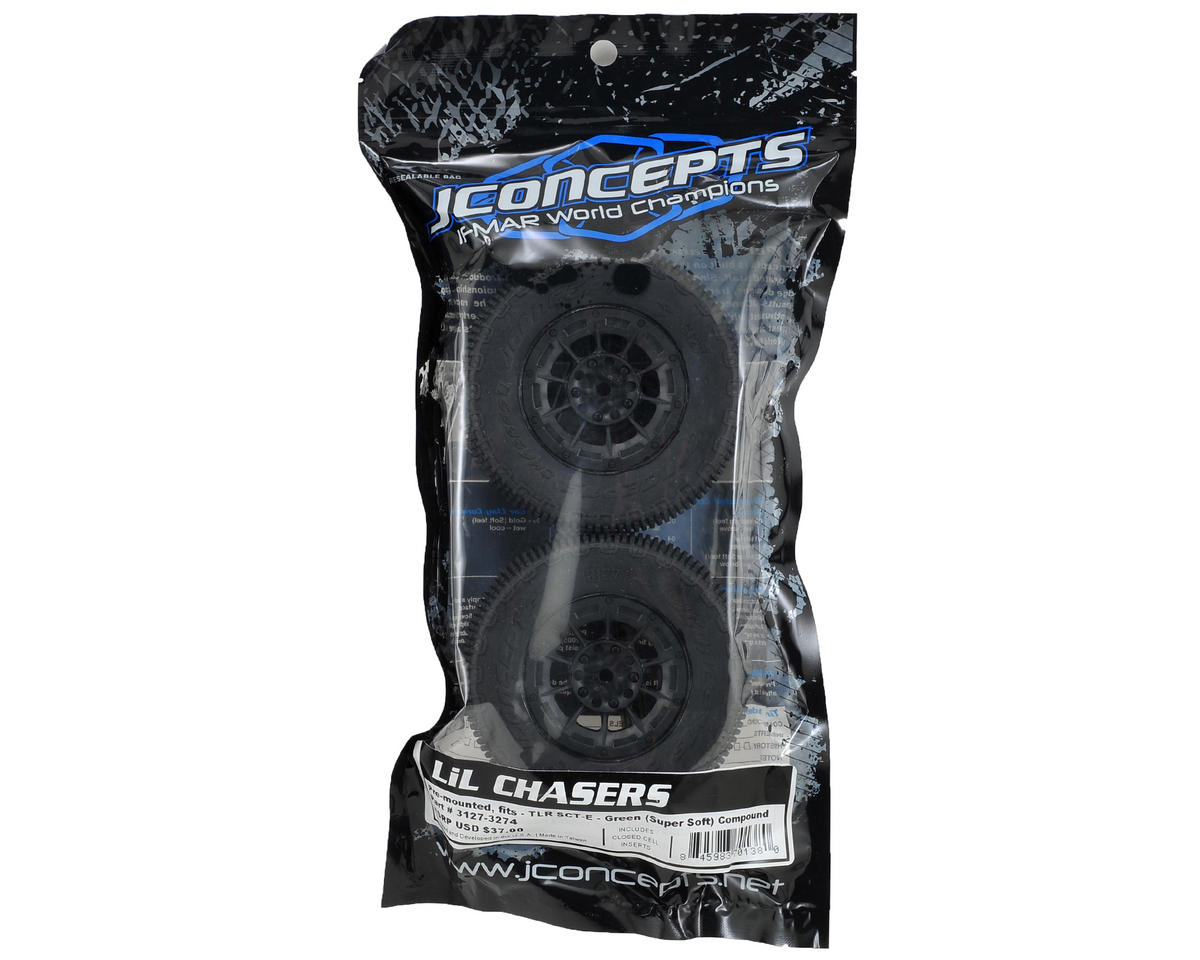 JConcepts LiL Chasers Pre-Mounted SC Tires w/Hazard Wheel (2) (TEN-SCTE) (Green)