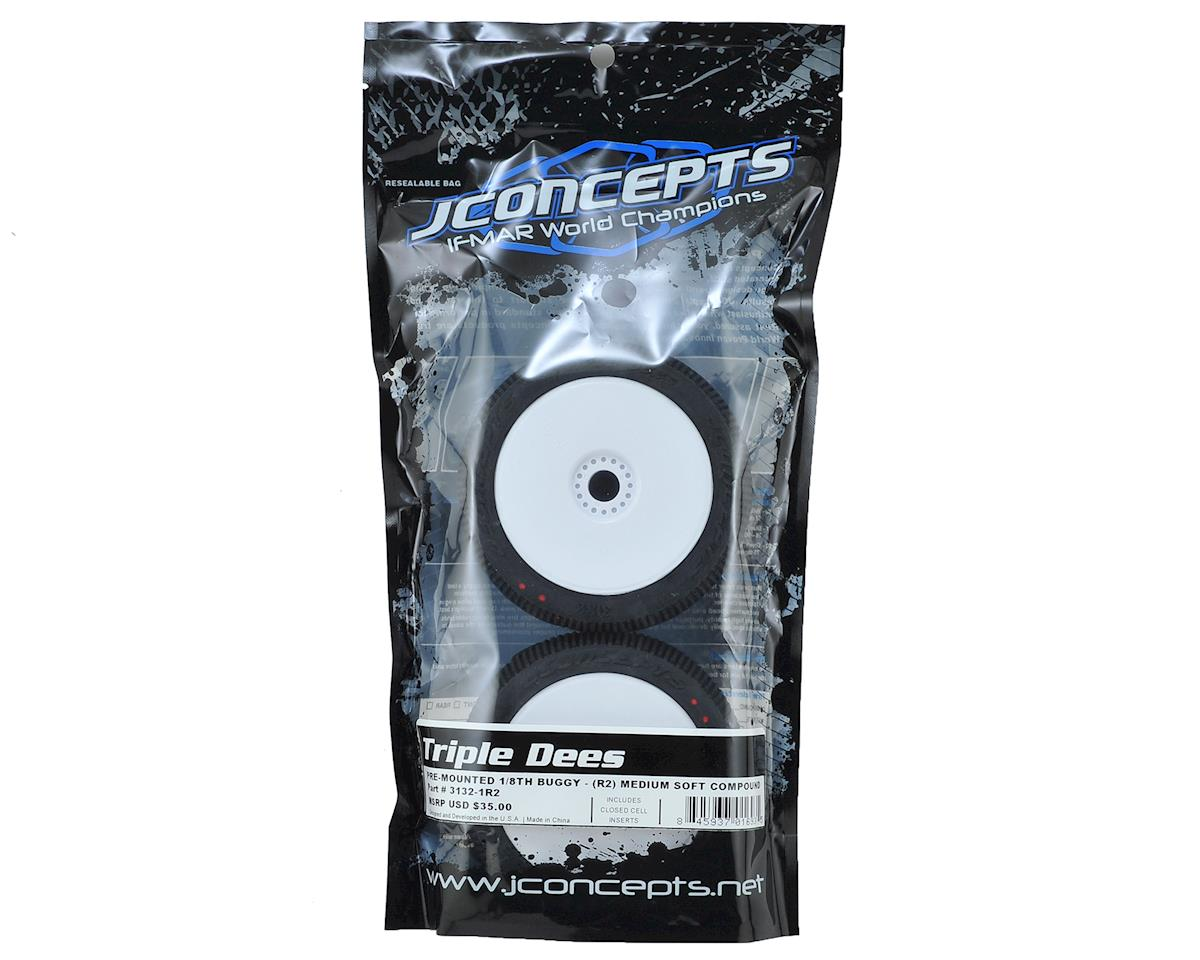 JConcepts Triple Dees Premounted 1/8 Buggy Tires (2) (White) (Red2 - Long Wear)