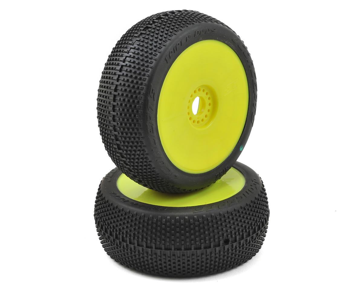JConcepts Triple Dees Pre-Mounted 1/8th Buggy Tires (2) (Yellow) (Green)