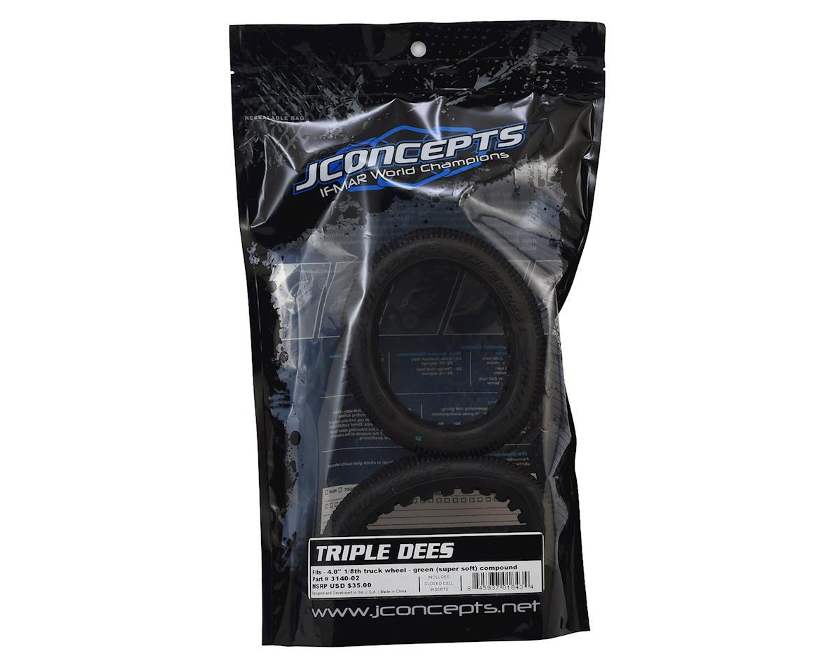 "JConcepts Triple Dees 4.0"" 1/8th Truggy Tires (2) (Green)"