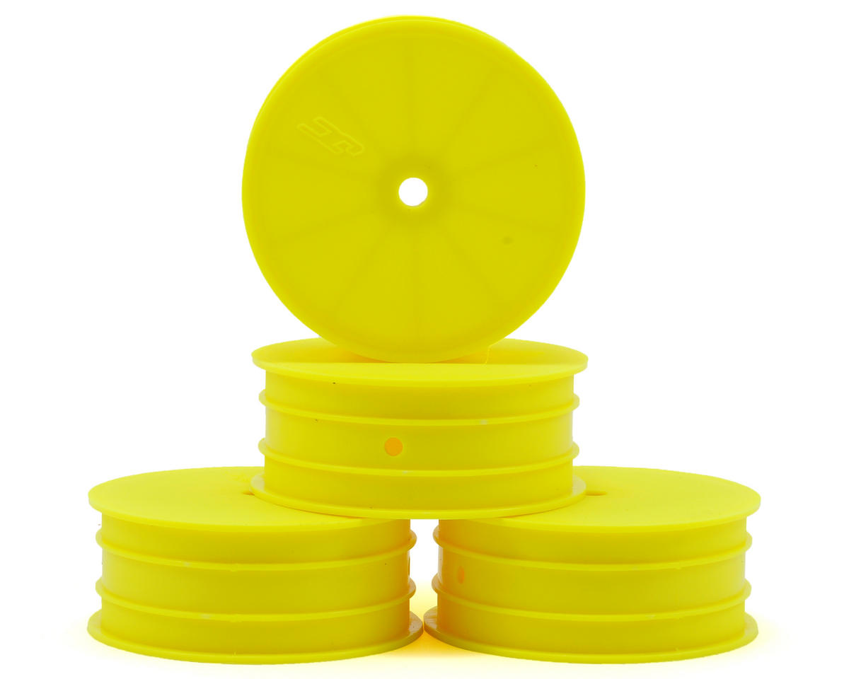 JConcepts 12mm Hex Mono 2.2 Front Wheels (4) (TLR 22 5.0) (Yellow) (Losi 5.0 AC)
