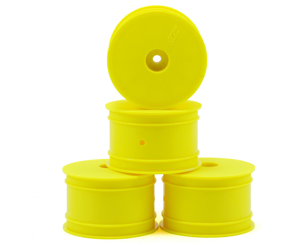 JConcepts 12mm Hex Mono 2.2 Hex Rear Wheels (4) (TLR 22) (Yellow)
