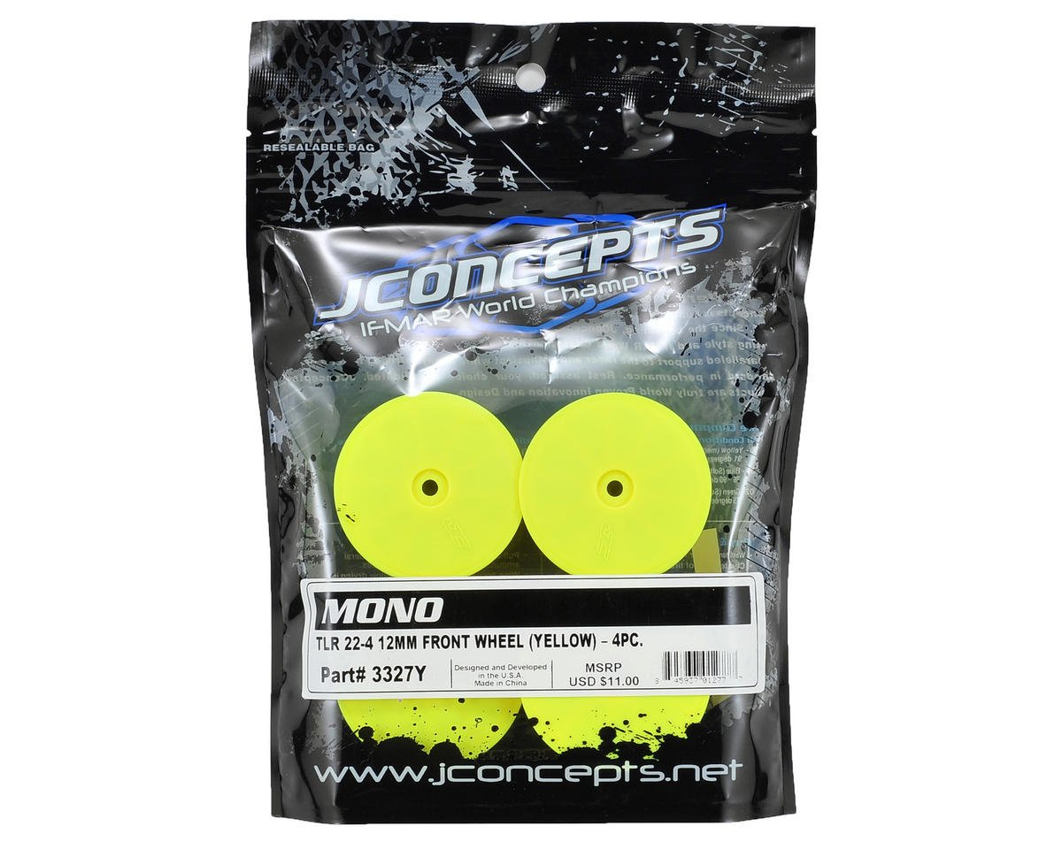JConcepts 12mm Hex Mono 2.2 4WD Front Buggy Wheels (4) (22-4) (Yellow)