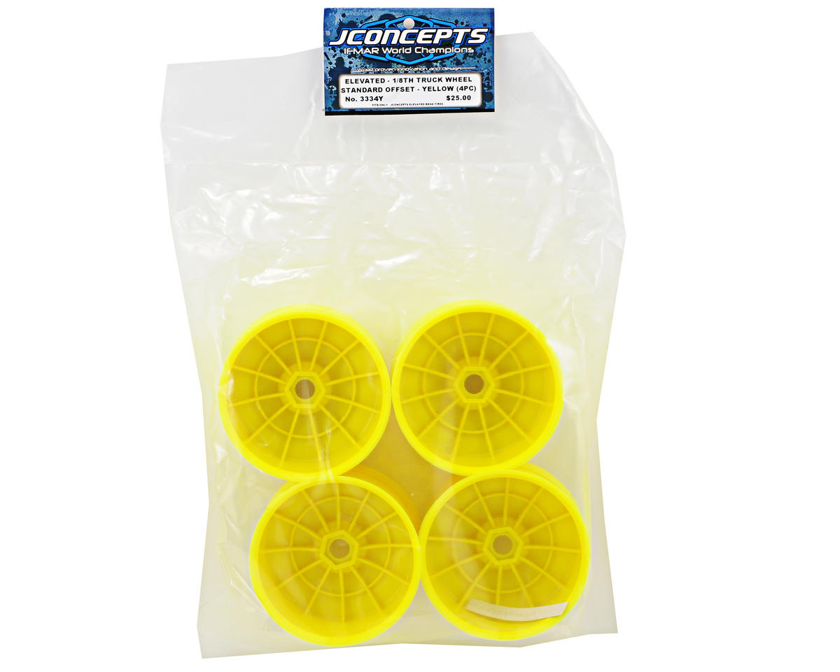 "JConcepts ""Elevated"" Standard Offset 1/8th Truck Wheel (4) (Yellow)"