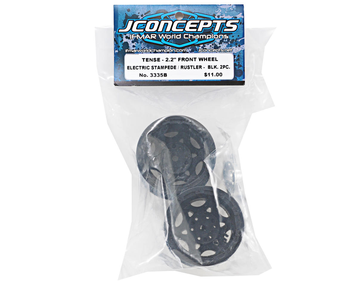 "JConcepts 12mm Hex Tense 2.2"" Wheel (2) (Stampede, Rustler/Front) (Black)"
