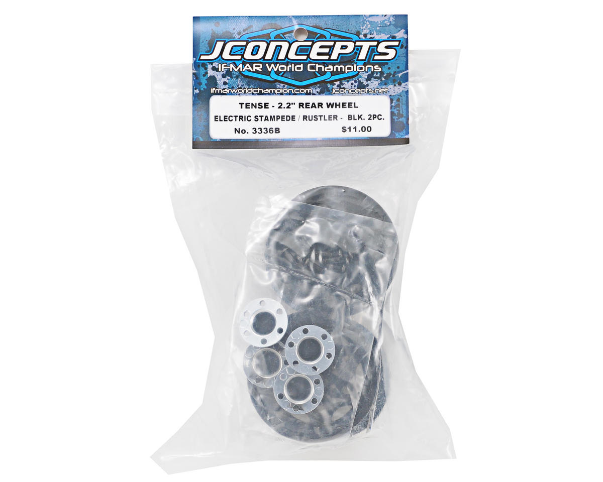 "JConcepts 12mm Hex Tense 2.2"" Wheel (2) (Stampede, Rustler/Rear) (Black)"