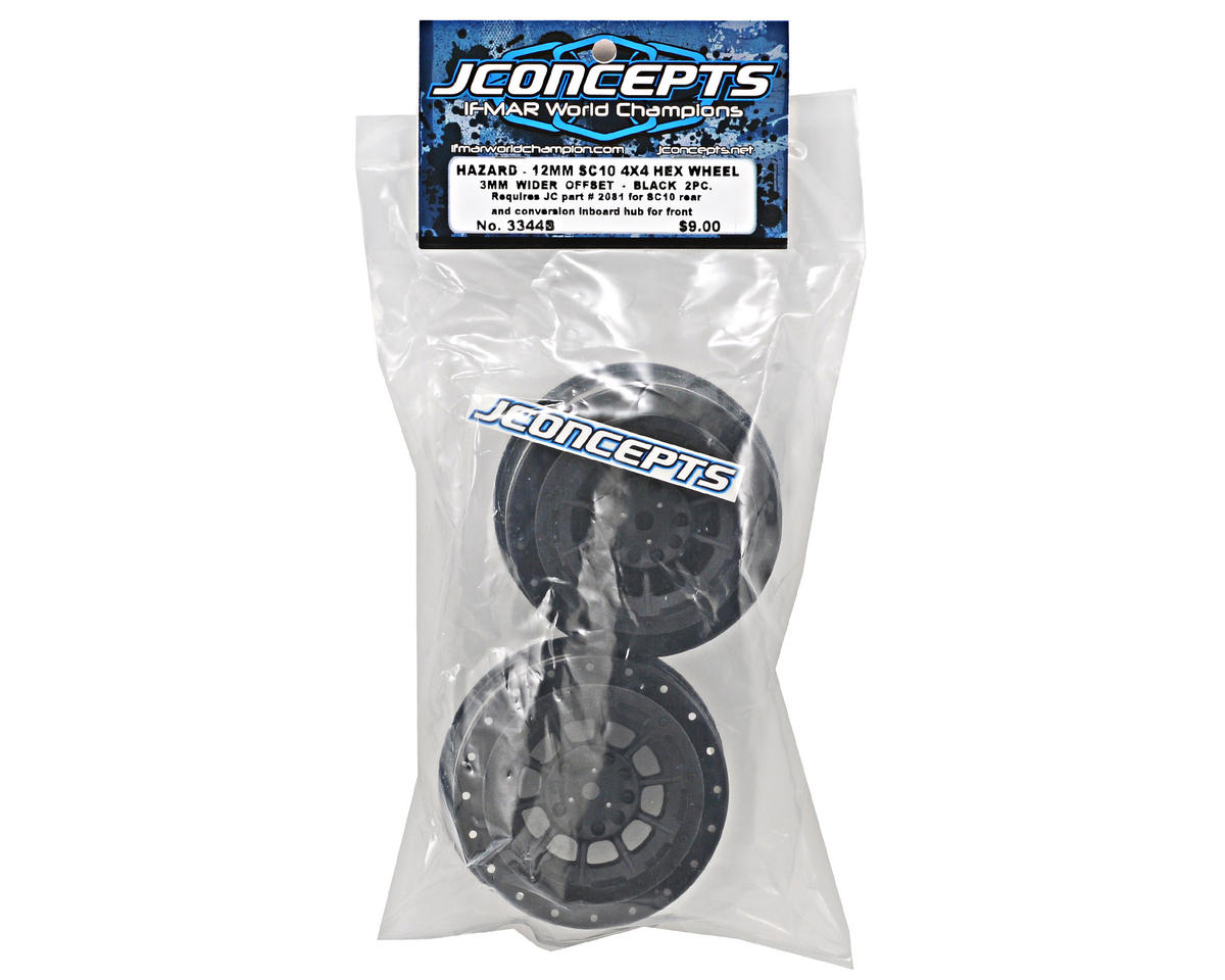 JConcepts 12mm Hex Hazard Short Course Wheels w/3mm Offset (Black) (2) (SC5M)