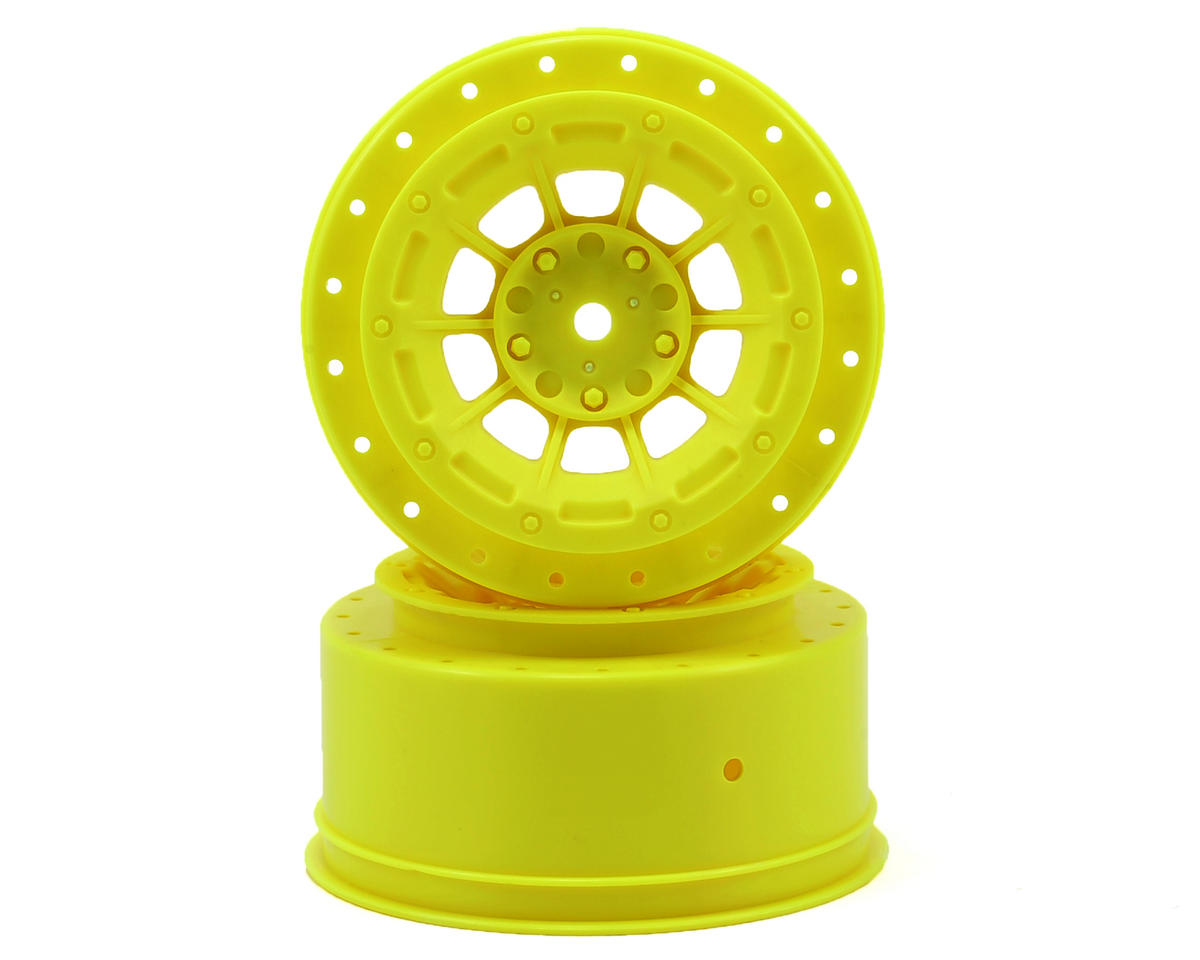 JConcepts 12mm Hex Hazard Short Course Wheels w/3mm Offset (Yellow) (2) (SC5M) (Team Associated SC10B)