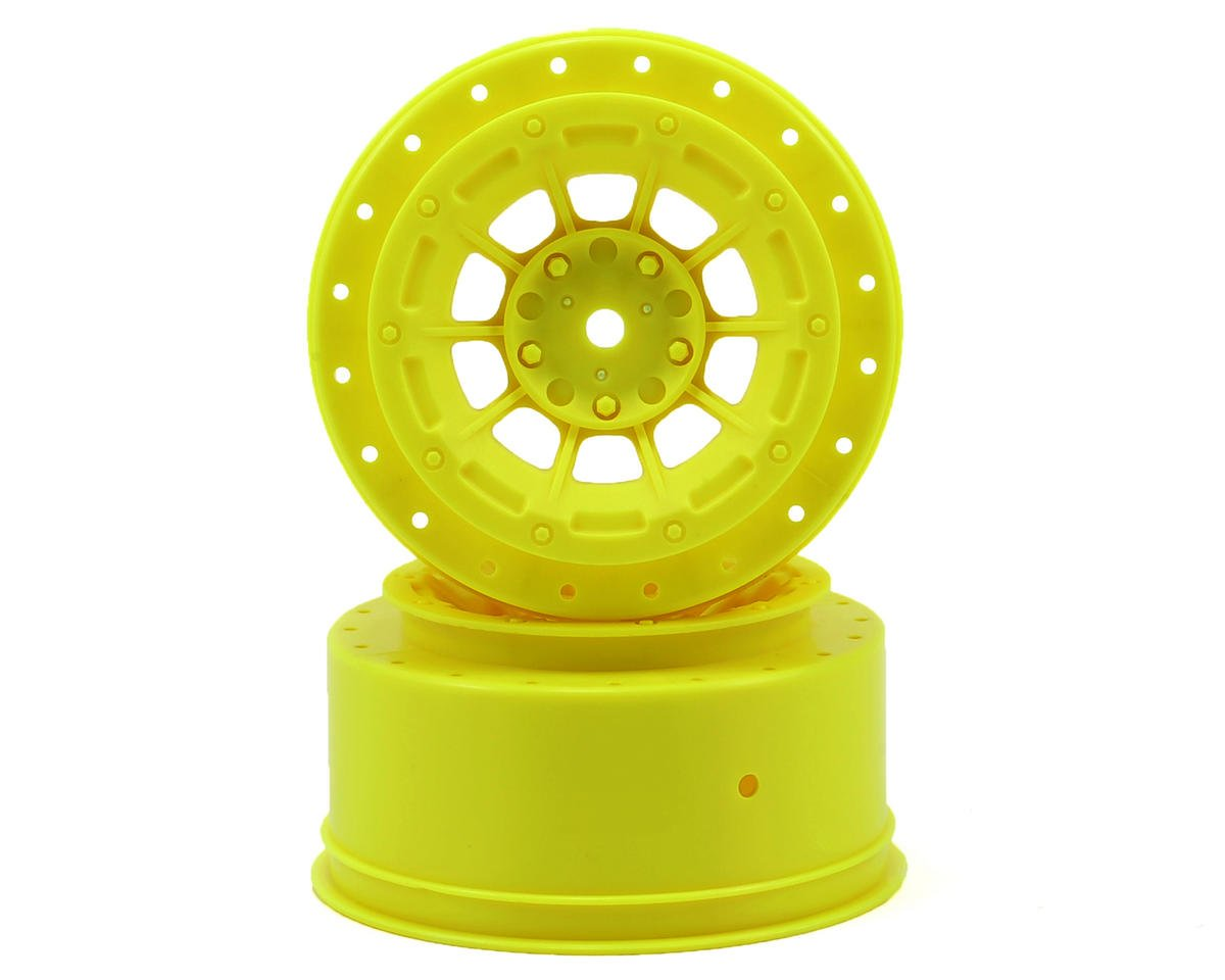JConcepts 12mm Hex Hazard Short Course Wheels w/3mm Offset (Yellow) (2) (SC5M) (Team Associated SC10 4x4)