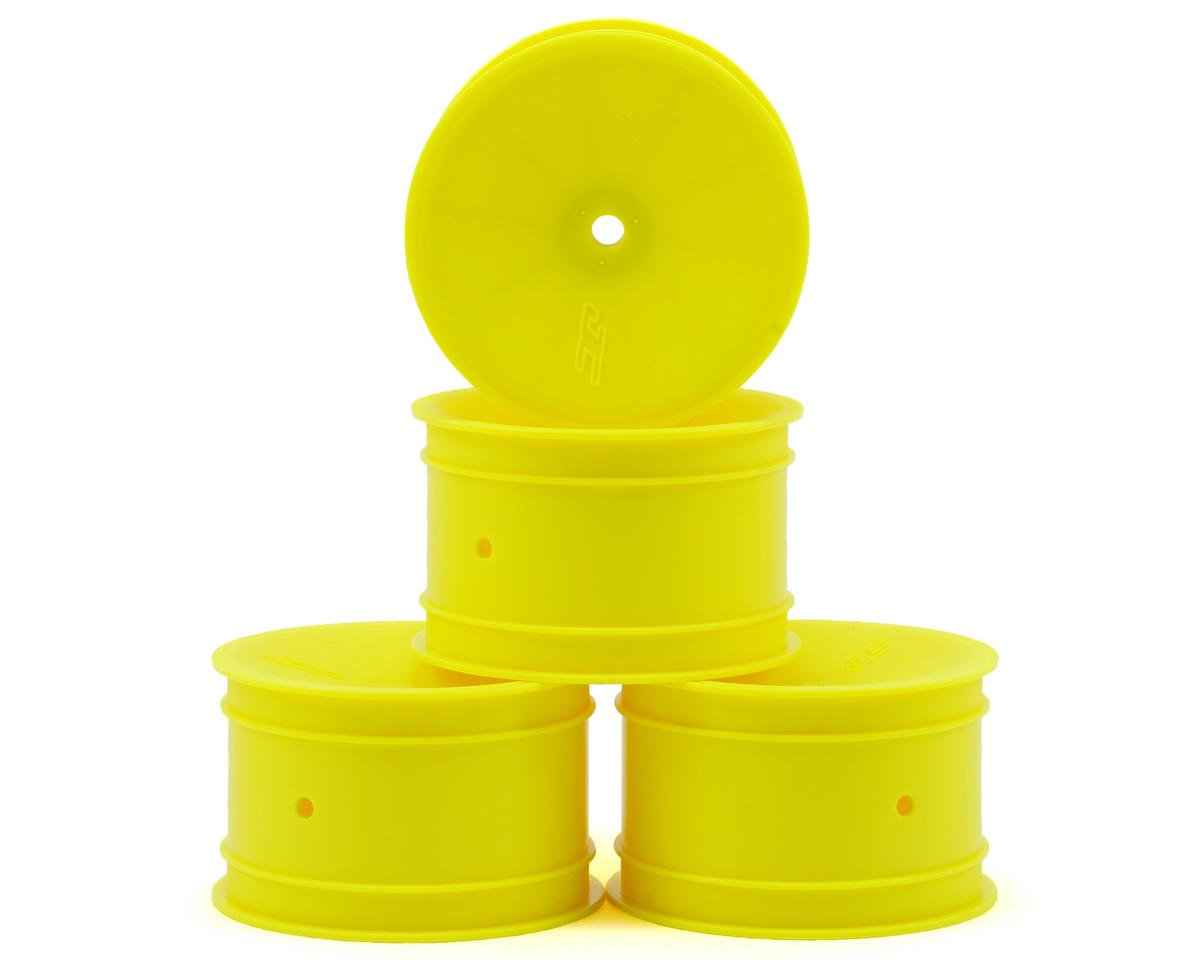 12mm Hex Mono 2.2 Rear Wheels (4) (B6/B5/RB6) (Yellow) by JConcepts (Losi XXX-4)