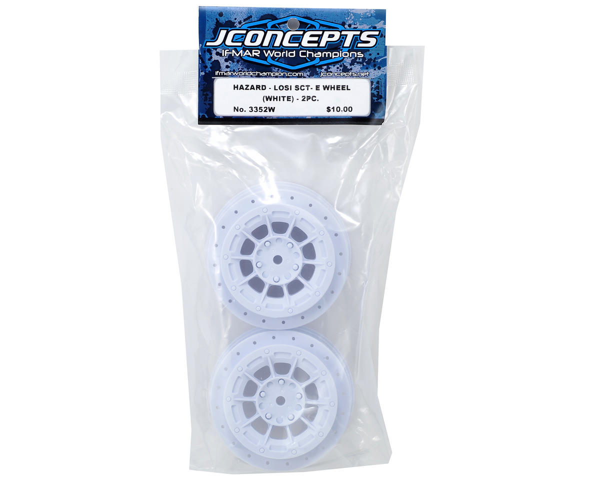 JConcepts 12mm Hex Hazard Short Course Wheels (White) (2) (TEN-SCTE)