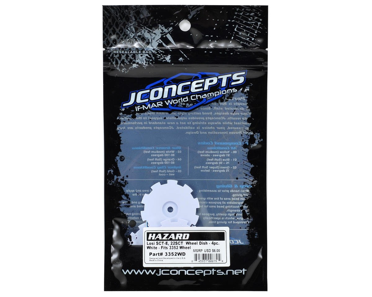 JConcepts Hazard Wheel Dish (White) (4) (TEN-SCTE)