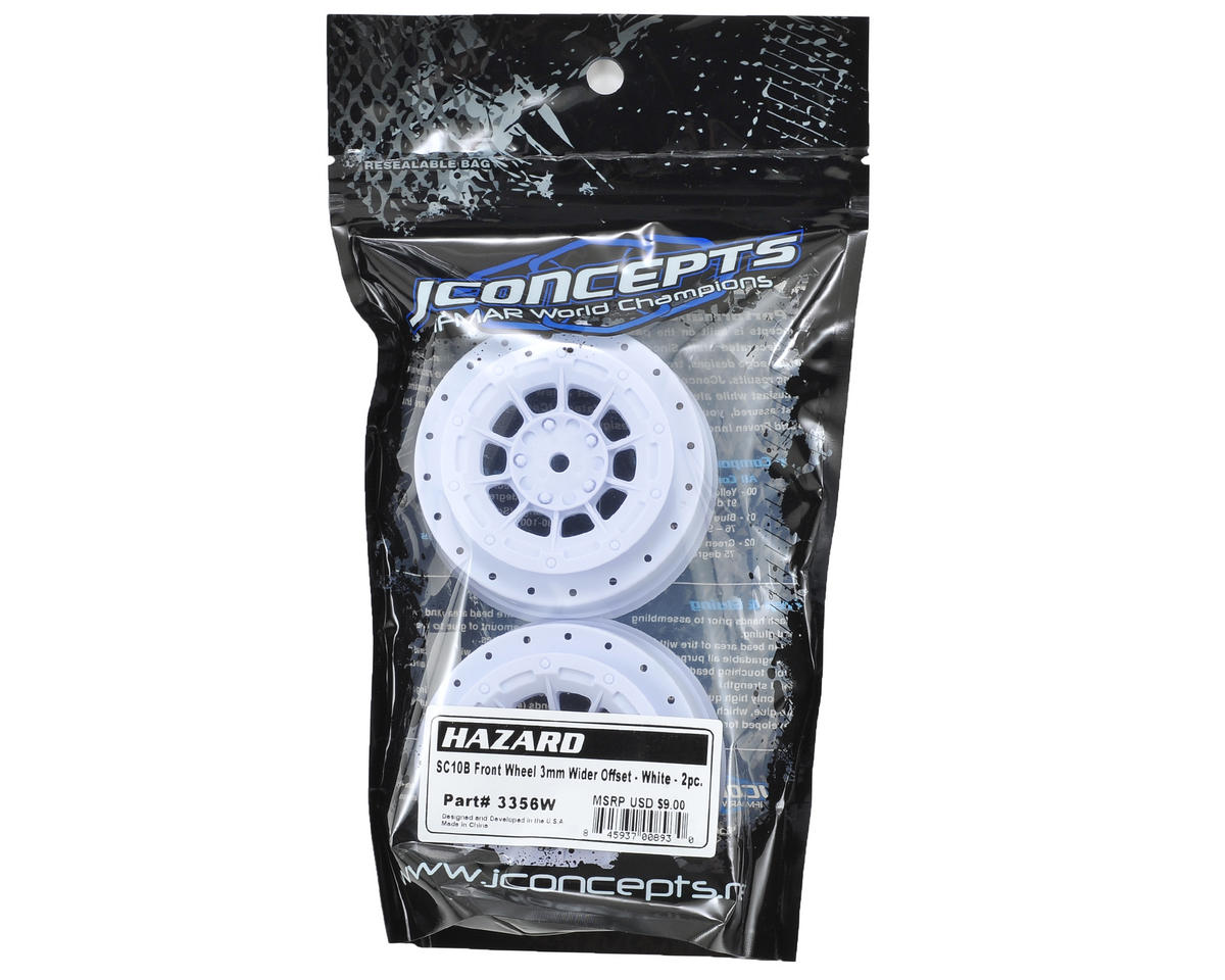 12mm Hex Hazard Front Wheel w/3mm Offset (White) (2) (SC10B) by JConcepts