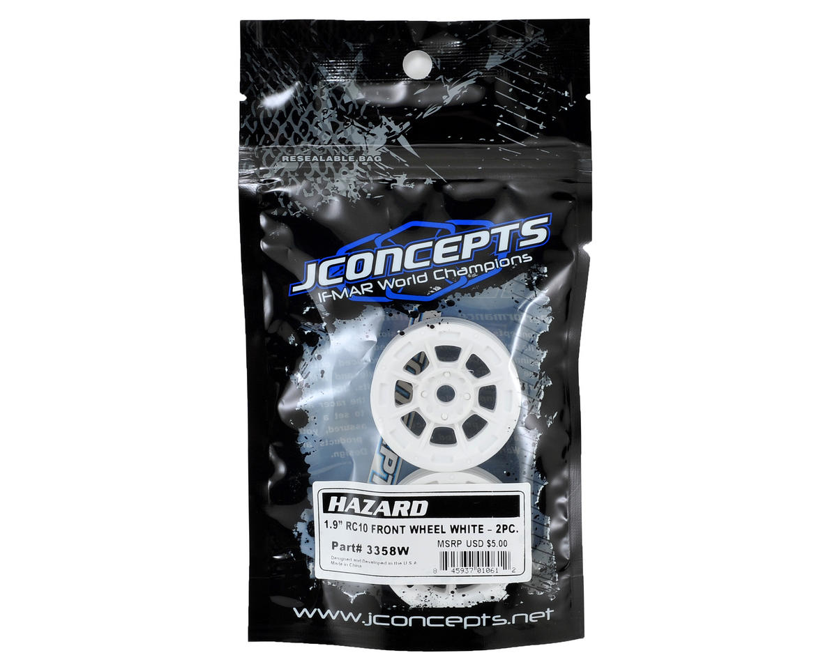 "Hazard 1.9"" RC10 Front Wheel (White) (2) by JConcepts"