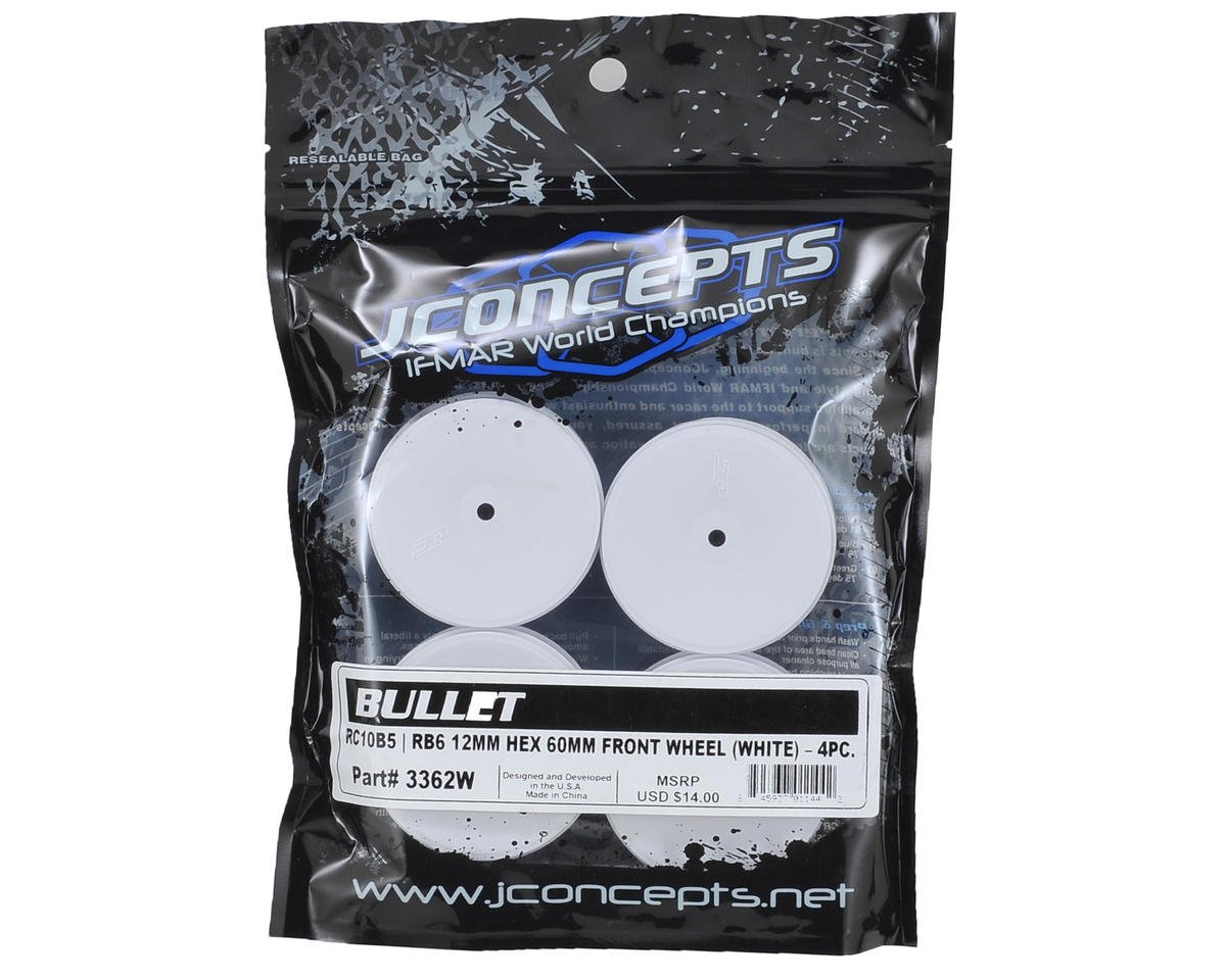 JConcepts 12mm Hex Bullet 60mm Front Wheels (4) (B6/B5/RB6) (White)