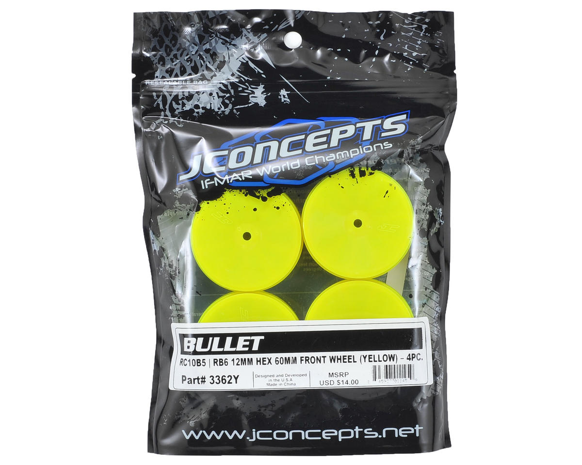 JConcepts 12mm Hex Bullet 60mm Front Wheels (4) (B6/B5/RB6) (Yellow)