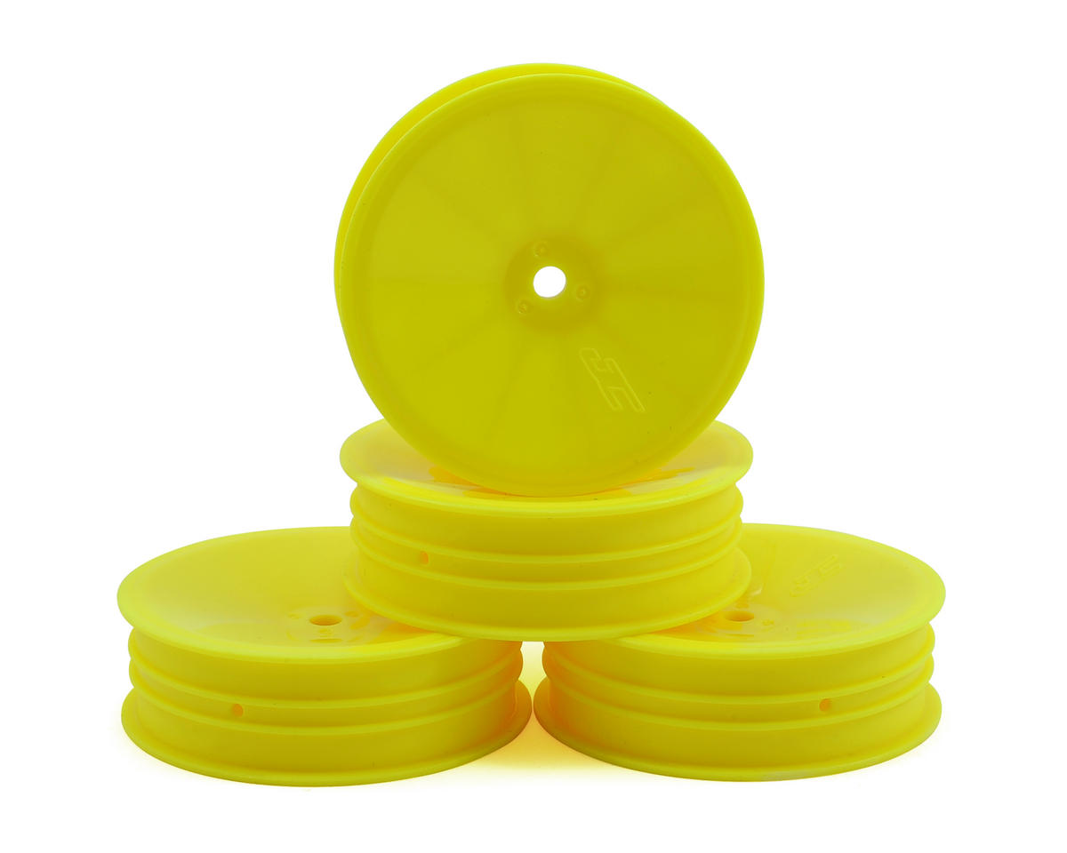 "JConcepts 12mm Hex Mono 2.2 ""Slim"" Front Wheels (4) (B6/RB6/SRX2/YZ2) (Yellow) (Schumacher Cougar KF2)"