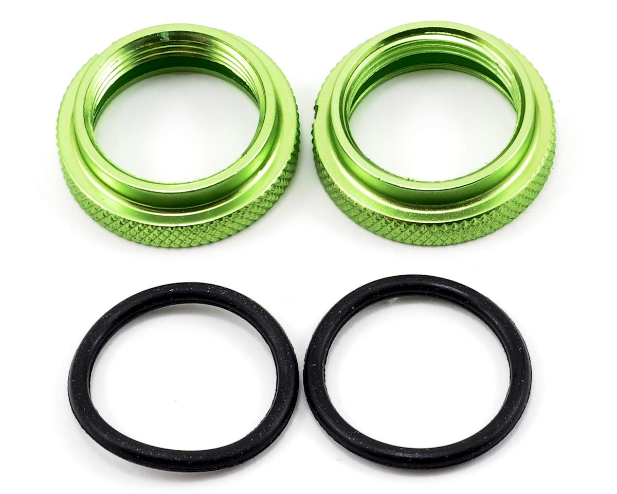 JQRacing Shock Spring Pre-Load Adjuster Nut Set w/O-Rings (Green) (2)