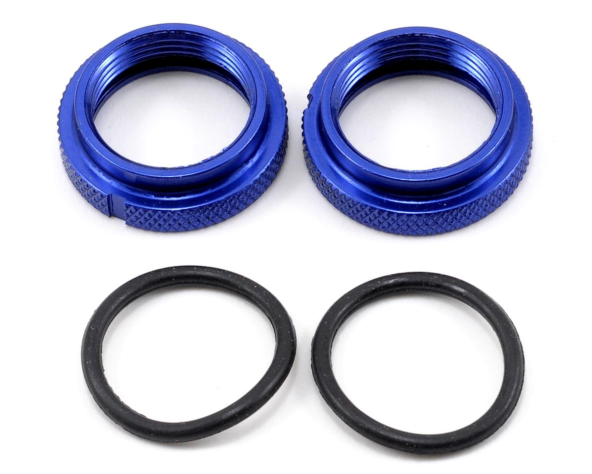 JQ Products Shock Spring Pre-Load Adjuster Nut Set w/O-Rings (Blue) (2)