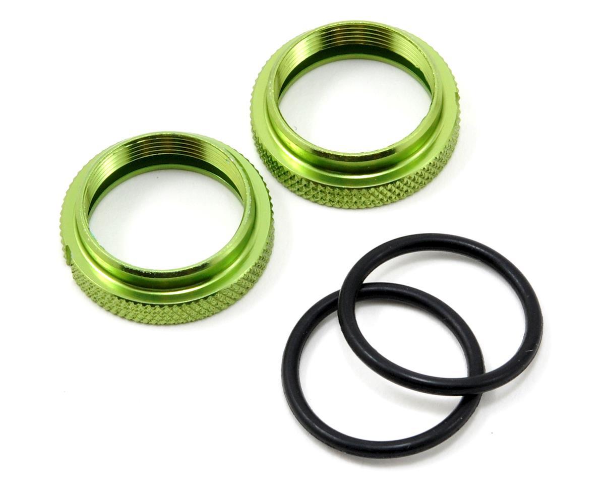 JQRacing Silk Shock Adjustment Nut & O-Ring Set (Green) (2)