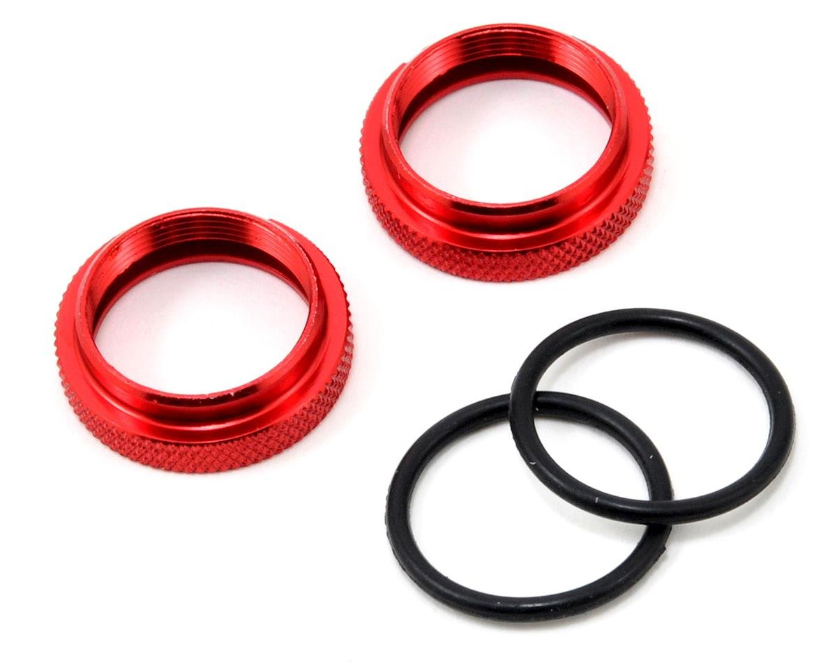 JQ Products Silk Shock Adjustment Nut & O-Ring Set (Red) (2)