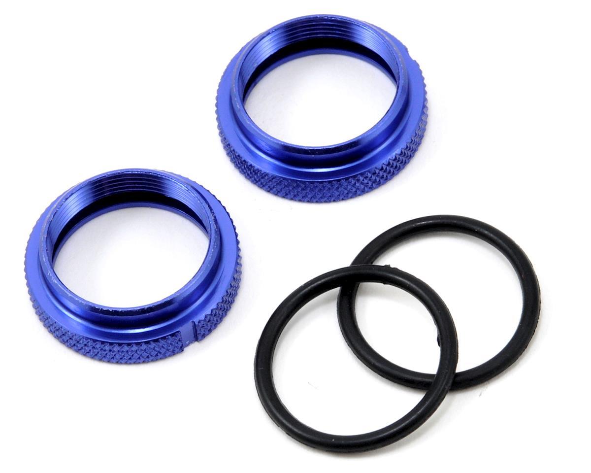 JQRacing Silk Shock Adjustment Nut & O-Ring Set (Blue) (2)