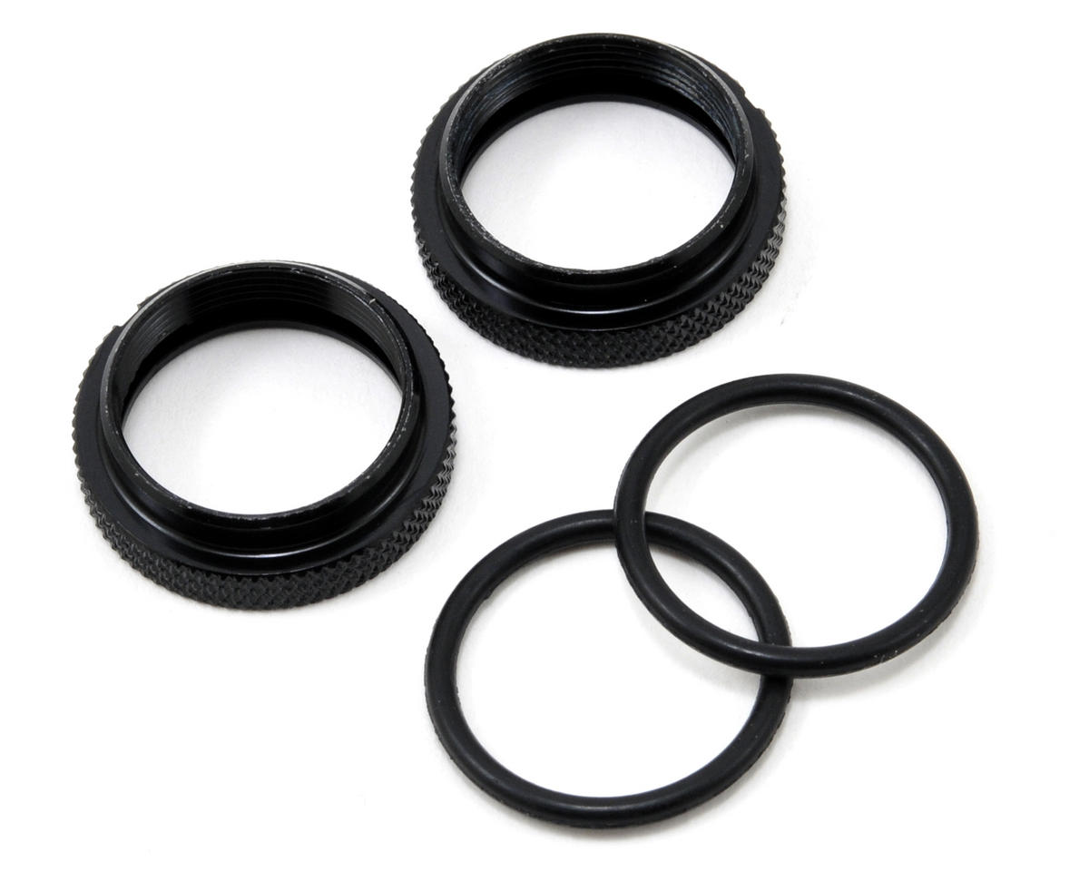 Silk Shock Adjustment Nut & O-Ring Set (Black) (2)