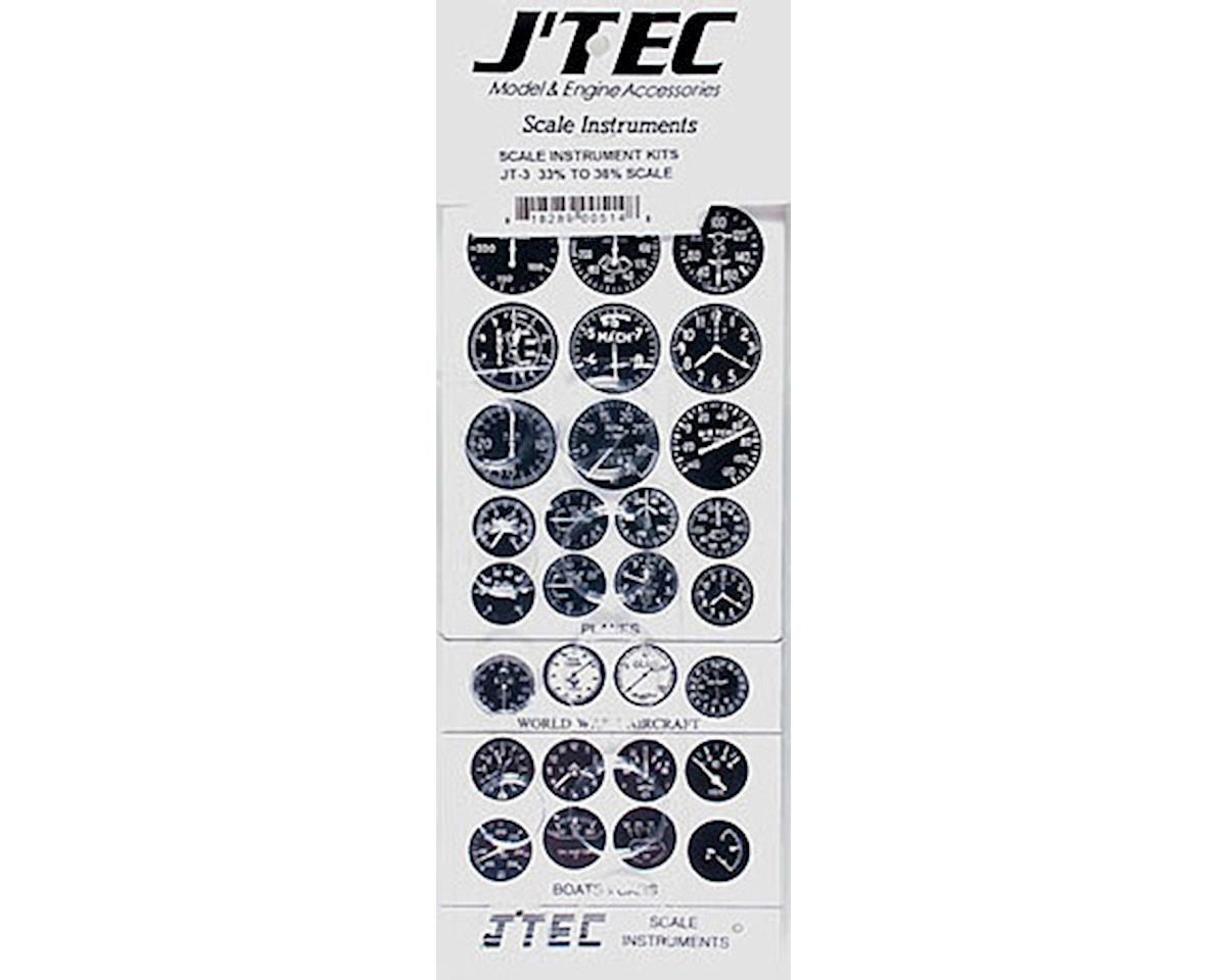 JT-3 1/3 Instrument Panel Transfer Decal Sheet B/W