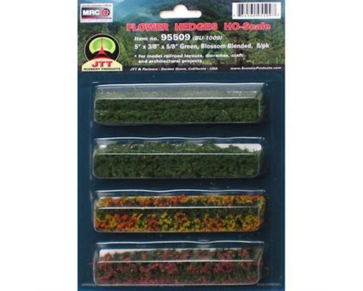 "JTT Scenery Flower Hedges, Green/Blossom Blended 5x3/8x5/8""(8)"