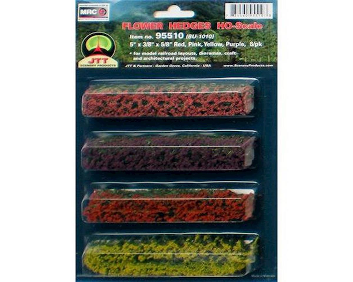 "JTT Scenery Flower Hedges,Red/Pink/Yellow/Purple 5x3/8x5/8""(8)"