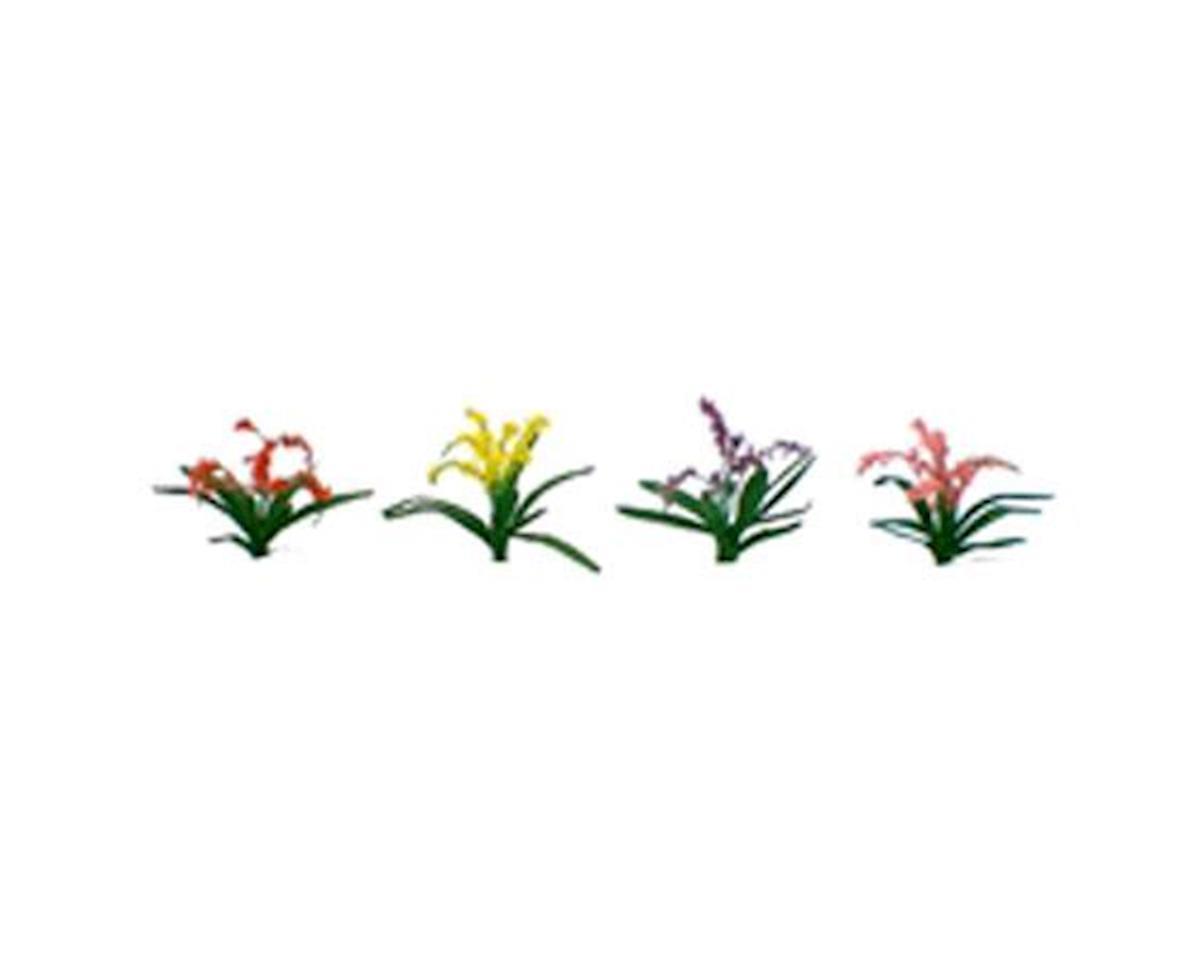 """JTT Scenery Flower Plants, Red/Pink/Yellow/Purple 3/8"""" (30)"""