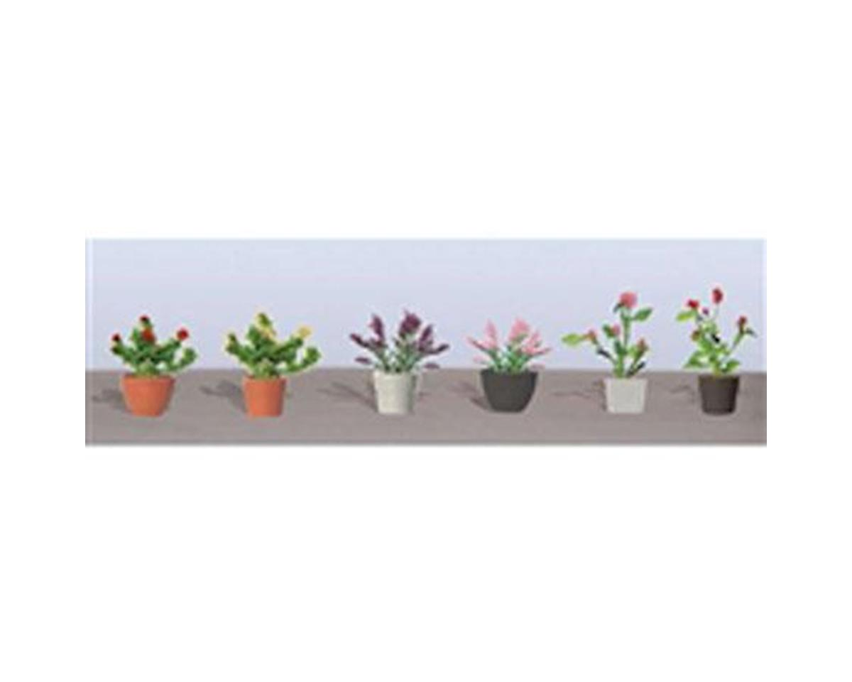 "JTT Scenery Flowering Potted Plants Assortment 1, 1"" (6)"