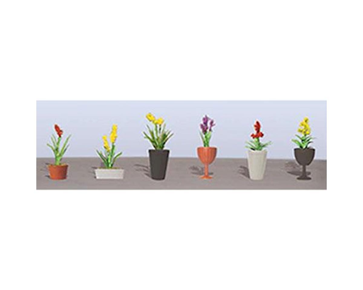 "JTT Scenery Flowering Potted Plants Assortment 2, 7/8"" (6)"