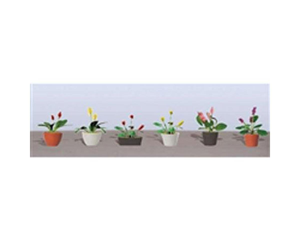 "JTT Scenery Flowering Potted Plants Assortment 3, 5/8"" (6)"