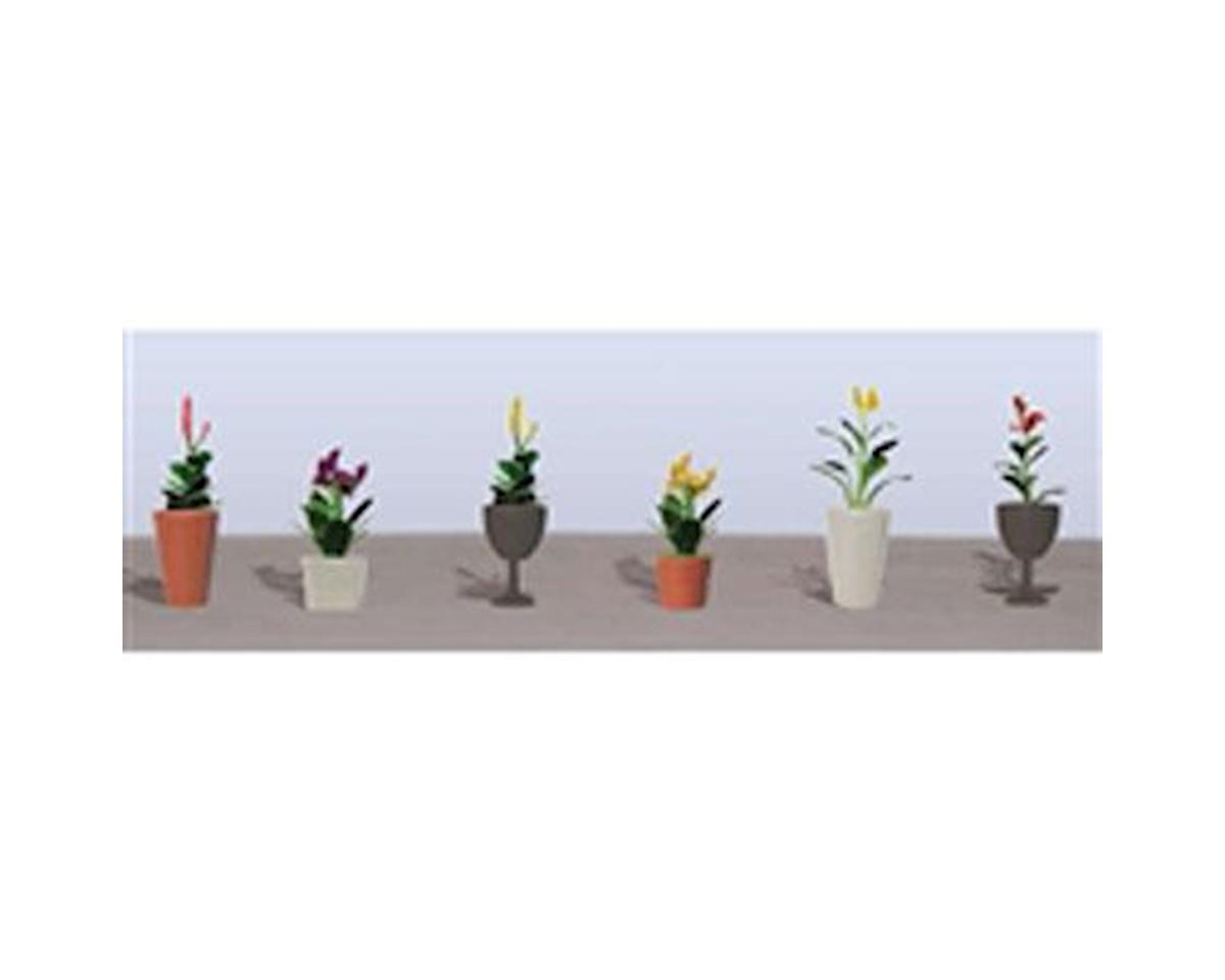 "JTT Scenery Flowering Potted Plants Assortment 4, 7/8"" (6)"