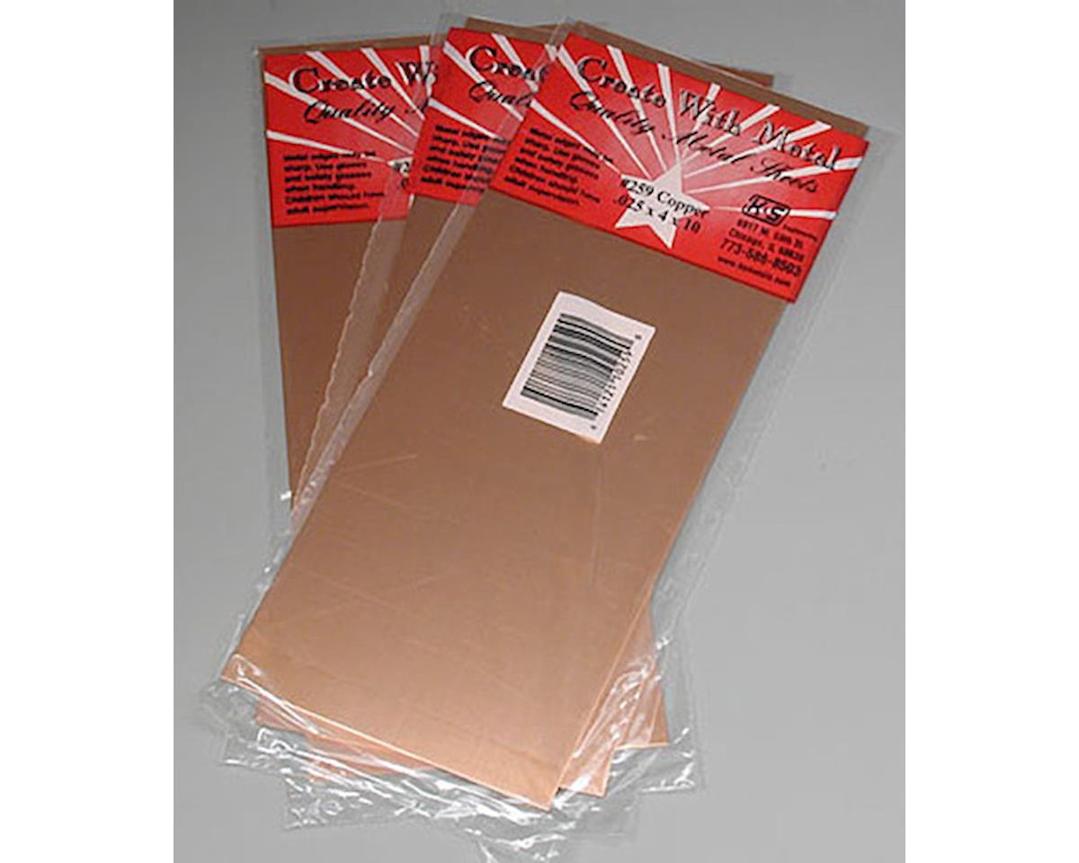 """K&S Engineering 259 Copper Sheet 4x10"""" .025"""" (3)"""