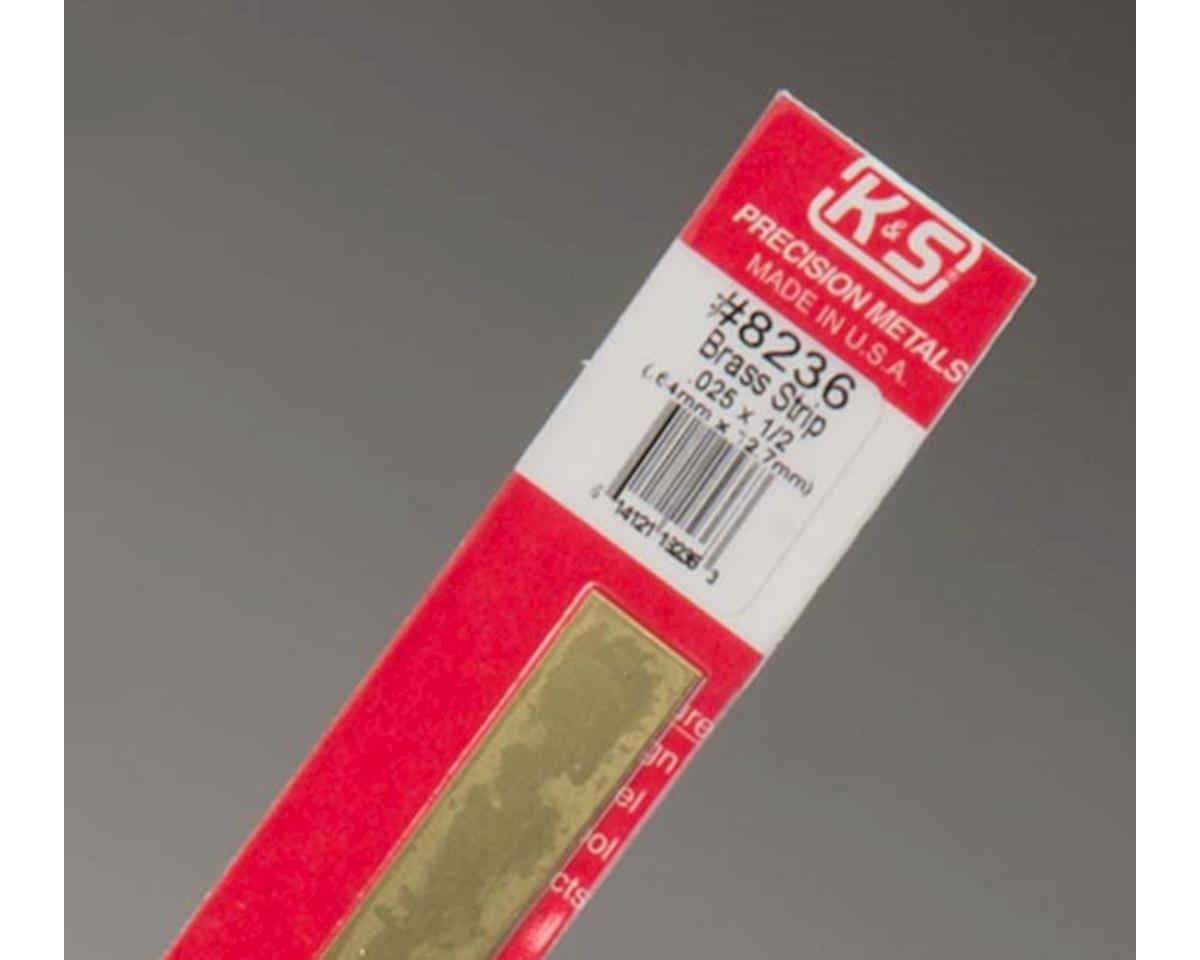 "K&S Engineering Brass Strips 12"", 025 X 1/2"", Carded"