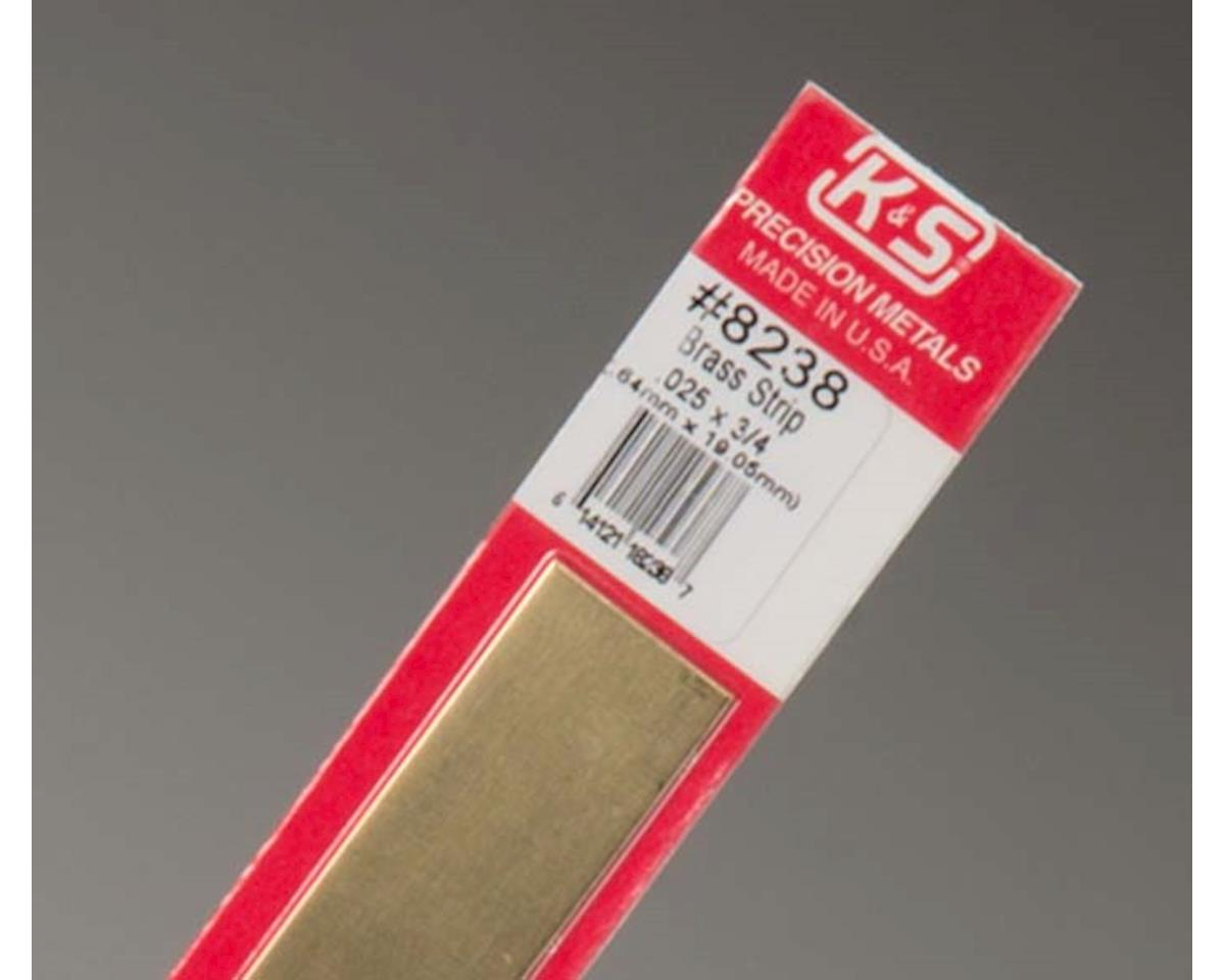 """Brass Strips 12"""", 025 X 3/4"""", Carded by K&S Engineering"""