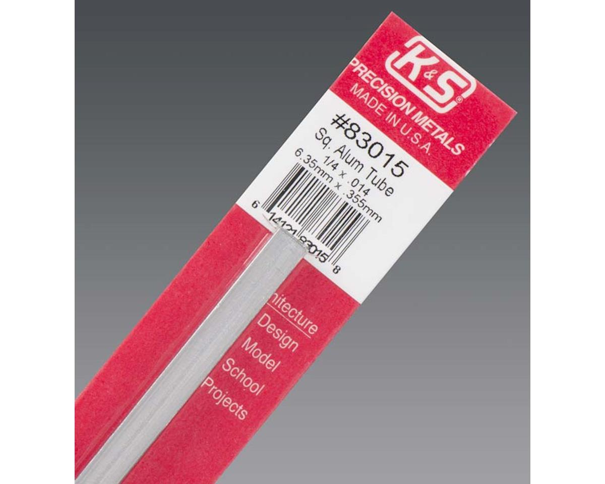 "Square Aluminum Tube .014  Wall 1/4"", Carded by K&S Engineering"
