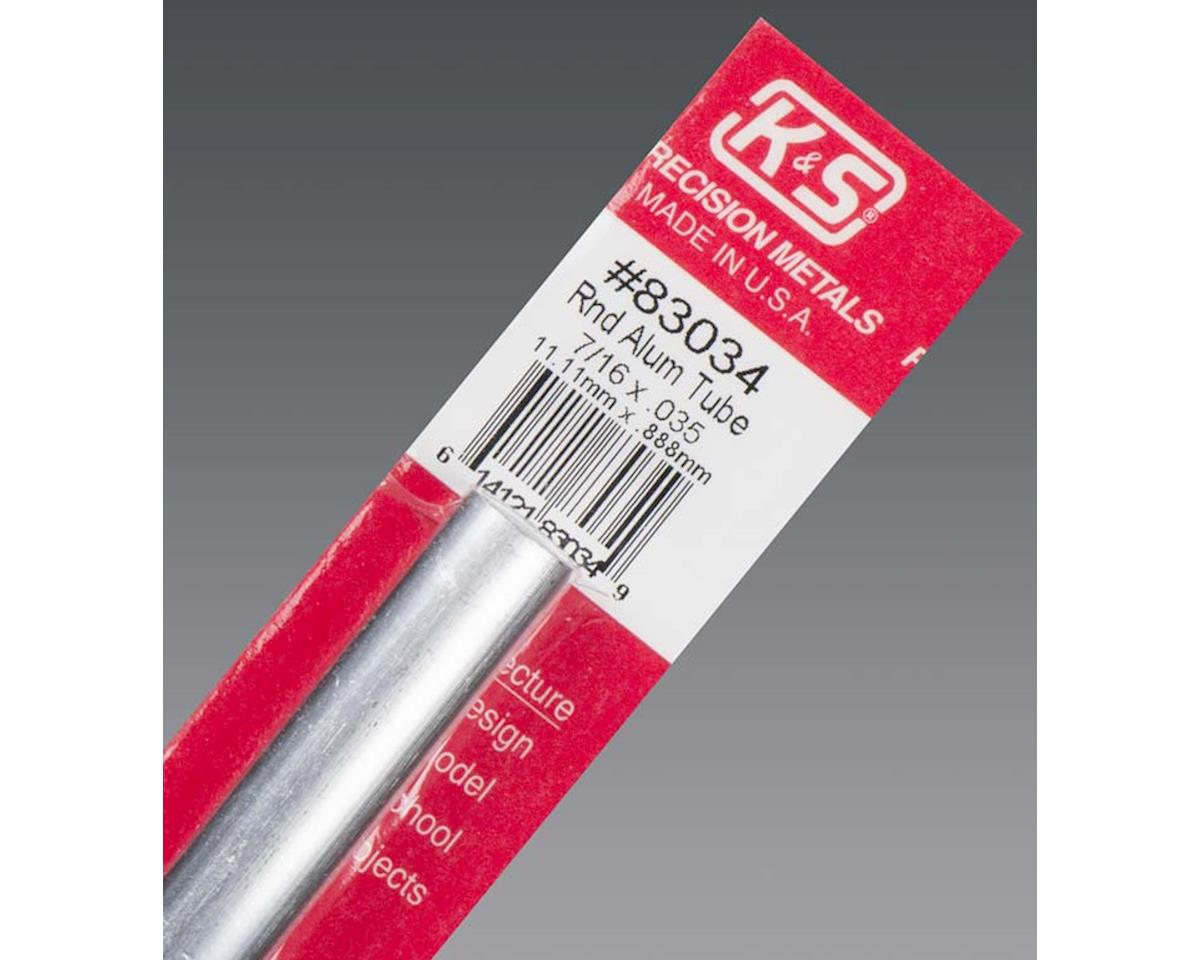 "K&S Engineering Round Aluminum Tube .035 Wall 7/16"", Carded"