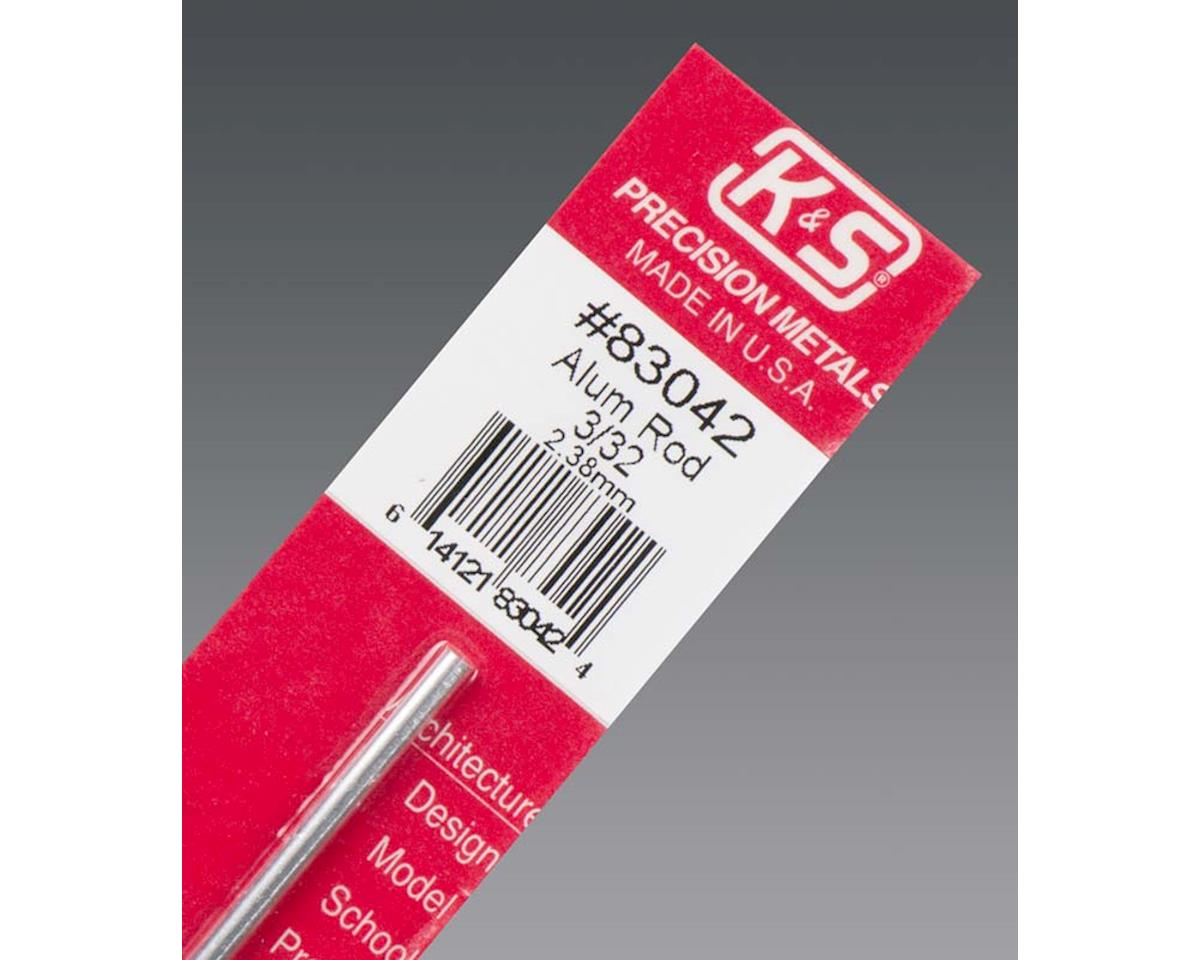 """K&S Engineering Solid Aluminum Rod 1100-0 3/32"""", Carded"""