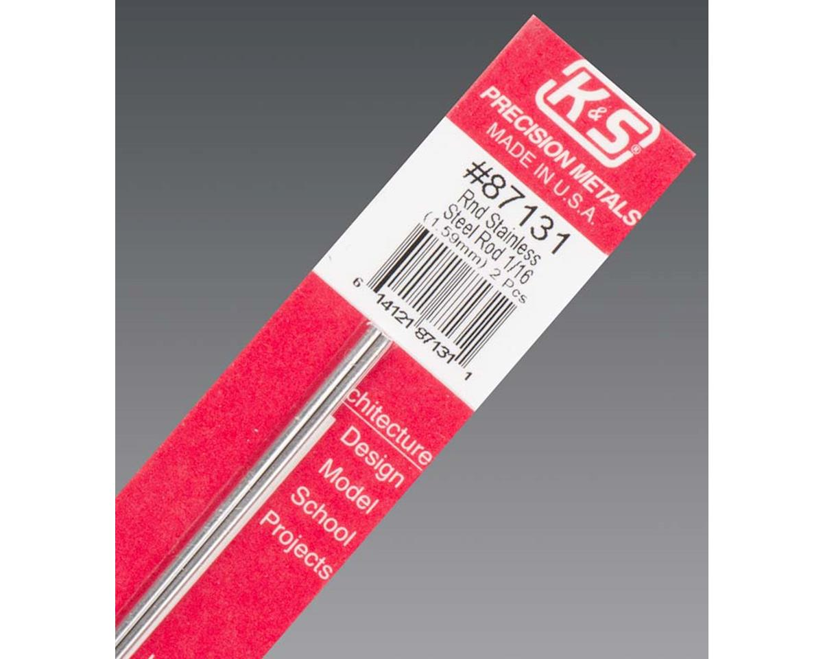 """K&S Engineering Round Stainless Steel Rod 1/16"""" 2 pcs, Carded"""